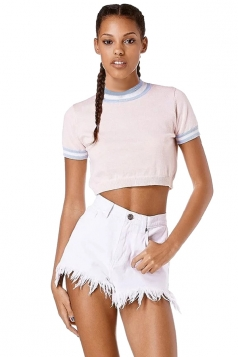 Womens Color Block Striped Short Sleeve Crop Top Pink