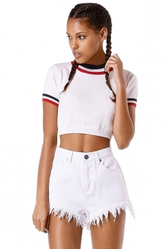 Womens Color Block Striped Short Sleeve Crop Top White