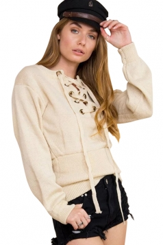 Womens Lace Up Front Long Sleeve Plain Pullover Sweater Khaki