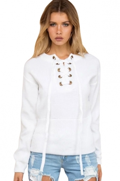 Womens Lace Up Front Long Sleeve Plain Pullover Sweater White