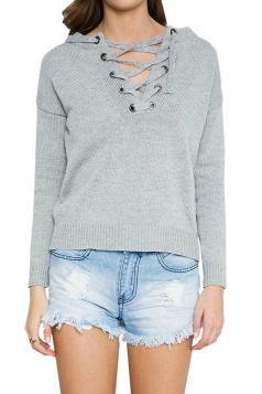 Womens Lace-up Crewneck Plain Pullover Sweater Gray