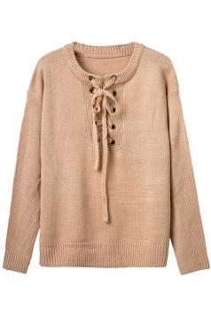 Womens Lace-up Crewneck Plain Pullover Sweater Khaki