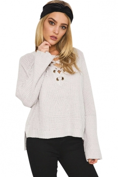 Womens Lace-up V Neck High Low Loose Pullover Sweater Light Gray