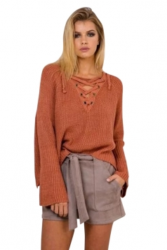 Womens Lace-up V Neck High Low Loose Pullover Sweater Tangerine