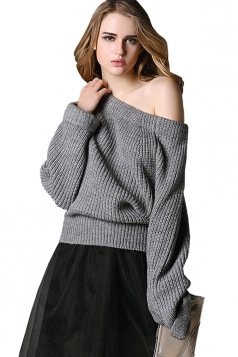 Womens Boat Neck Off Shoulder Plain Pullover Sweater Gray