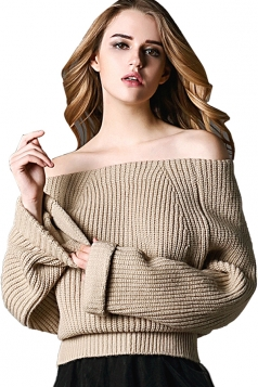 Womens Boat Neck Off Shoulder Plain Pullover Sweater Khaki