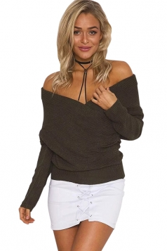Womens Cross V Neck Off Shoulder Pullover Plain Sweater Coffee