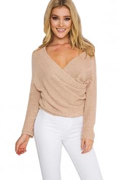 Womens Cross V Neck Off Shoulder Pullover Plain Sweater Khaki