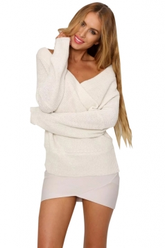 Womens Cross V Neck Off Shoulder Pullover Plain Sweater White