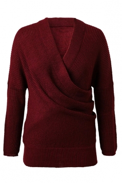 Womens Cross V Neck Off Shoulder Pullover Plain Sweater Ruby