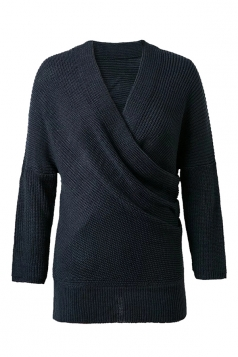 Womens Cross V Neck Off Shoulder Pullover Plain Sweater Navy Blue