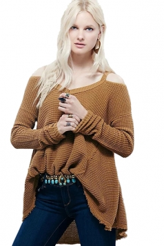 Womens Cold Shoulder Raw Edge Loose Pullover Sweater Brown
