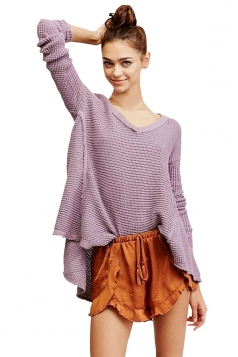 Womens Cold Shoulder Raw Edge Loose Pullover Sweater Purple