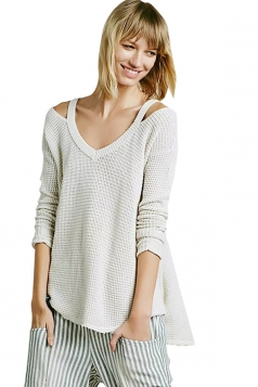 Womens Cold Shoulder Raw Edge Loose Pullover Sweater White