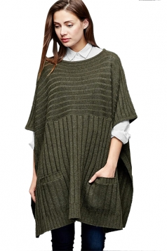 Womens Side Slit Pockets Pullover Sweater Poncho Army Green