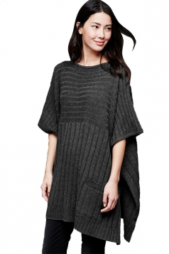 Womens Side Slit Pockets Pullover Sweater Poncho Black