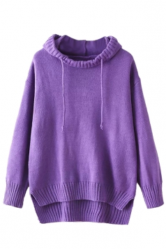 Womens High Low Plain Pullover Hooded Sweater Purple