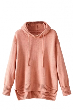 Womens High Low Plain Pullover Hooded Sweater Pink