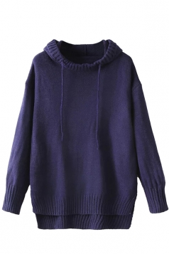 Womens High Low Plain Pullover Hooded Sweater Navy Blue