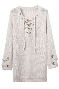 Womens Plain Lace-up V Neck Pullover Long Sweater White