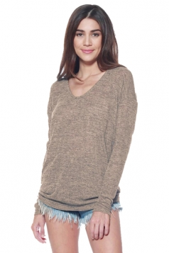 Womens V Neck Long Sleeve Plain Pullover Sweater Coffee