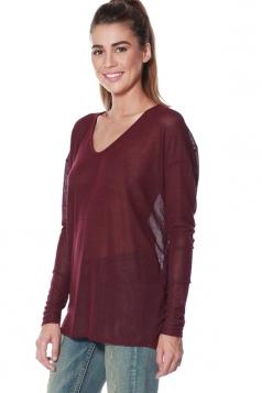 Womens V Neck Long Sleeve Sheer Plain Pullover Sweater Ruby