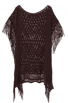 Womens Fringe Hollow Out Pullover Poncho Sweater Coffee