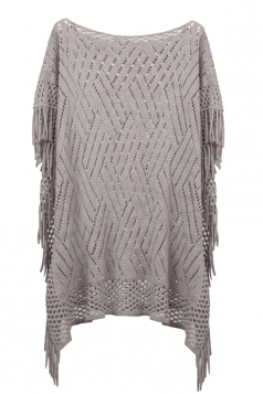 Womens Fringe Hollow Out Pullover Poncho Sweater Gray