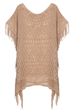 Womens Fringe Hollow Out Pullover Poncho Sweater Khaki