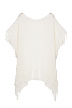 Womens Fringe Hollow Out Pullover Poncho Sweater White