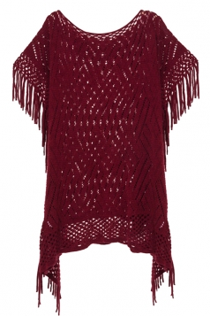 Womens Fringe Hollow Out Pullover Poncho Sweater Ruby