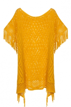 Womens Fringe Hollow Out Pullover Poncho Sweater Yellow