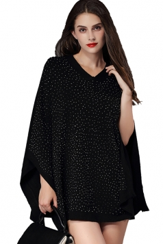 Womens V Neck Rhinestone Decor Pullover Poncho Black