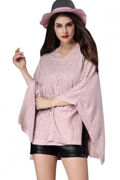 Womens V Neck Rhinestone Decor Pullover Poncho Pink