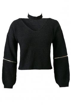 Womens V Neck Zipper Sleeve Pullover Choker Sweater Black