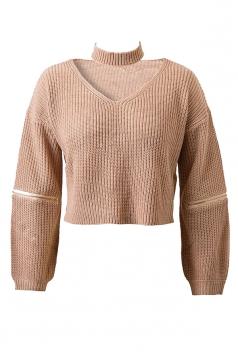Womens V Neck Zipper Sleeve Pullover Choker Sweater Khaki