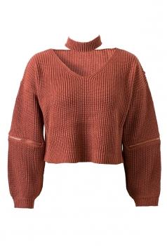 Womens V Neck Zipper Sleeve Pullover Choker Sweater Tangerine