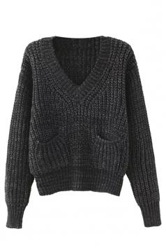 Womens V Neck Pockets Long Sleeve Pullover Sweater Dark Gray