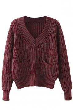 Womens V Neck Pockets Long Sleeve Pullover Sweater Ruby