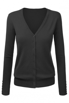 Womens V Neck Single-breasted Long Sleeve Plain Cardigan Sweater Black