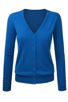Womens V Neck Single-breasted Cardigan Sweater Sapphire Blue
