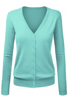 Womens V Neck Single-breasted Long Sleeve Cardigan Sweater Turquoise