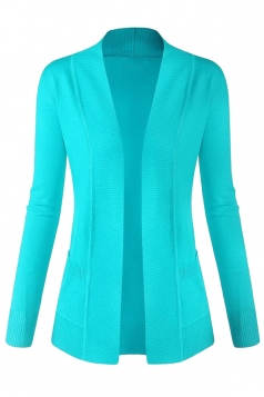 Womens Plain Long Sleeve Cardigan Sweater Blue