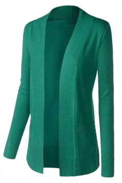 Womens Plain Long Sleeve Cardigan Sweater Green