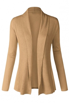 Womens Plain Long Sleeve Cardigan Sweater Khaki