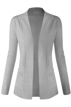 Womens Plain Long Sleeve Cardigan Sweater Light Gray