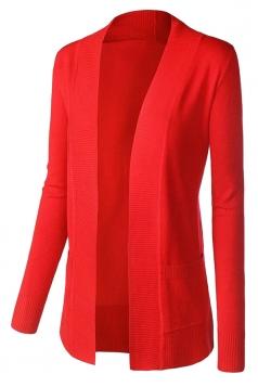 Womens Plain Long Sleeve Cardigan Sweater Red