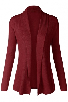 Womens Plain Long Sleeve Cardigan Sweater Ruby