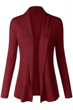 Womens Plain Long Sleeve Cardigan Sweater Ruby