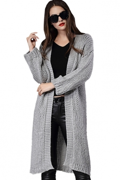 Womens Loose Long Sleeve Plain Knee Length Cardigan Sweater Gray